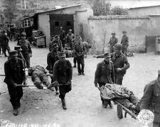 WWII B&W Photo German POW's Carry Wounded  WW2 World War Two Wehrmacht / 2019