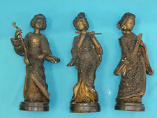 3x ANTIQUE 19 c CHINESE QING BRONZE STATUE IMMORTAL FEMALE MUSICIANS ~ 18""