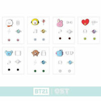BTS BT21 Official Authentic Goods Silver Earring by OST 7Characters + Track #