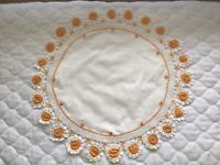 Vintage Dollie Round Scalloped Crochet Yellow 20""