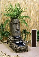 Fuente de Agua 'Cabeza de Isla de Pascua' Solar con Luces Jardín Decoración