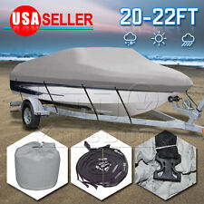 "20-22 Ft 600D Fabric Heavy Duty Waterproof Trailable Boat Cover V-Hull 100"" Beam"