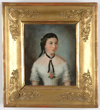 """Portrait of a Young Lady"", Austrian School, Small Oil Painting, 1850s"