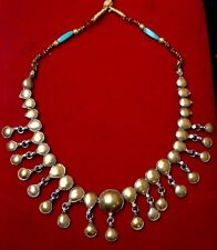 Vintage Indian Hand Made Silver With Golden Plated Work Necklaces Collectible