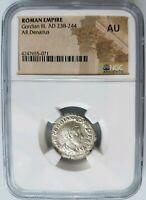 GORDIAN III Roman Empire Silver AU NGC Denarius Ancient Diana Lucifera Torch
