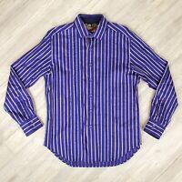 Robert Graham Button Up Casual Dress Shirt Mens Sz L Large Royal Purple Stripes