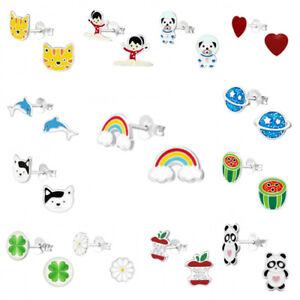 925 Sterling Silver Earrings Studs Girls Kids Unicorn Rainbow Heart Star Cat Dog