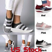 Women's Casual Comfy Mid Heel Platform Shoes Ladies Slip On Striped Sneakers US