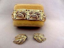 Gilded STERLING & Marcasite Filigree Bracelet Set-Germany-ALICE CAVINESS