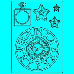 Stamperia Mixed Media Silicone Mould A5 Sir Vagabond Clocks and Stars KACM07 New