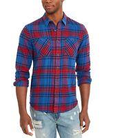 American Rag Mens Shirt Blue Size Large L Button Up Plaid Pockets $45 #190