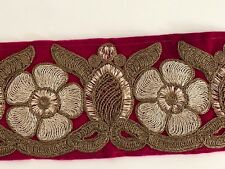 ATTRACTIVE INDIAN EMBELLISHED ANTIQUE EMBROIDERY CERISE VALOUR TRIM/LACE- 1 MTR