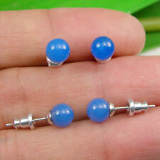 1 Pair Blue Agate Gemstone 6mm Round Ball Stud Earrings - Silver