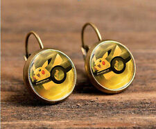 Pokemon Pikachu Bronze Glass cabochon 18mm handmade Earrings Jewelry GC-28