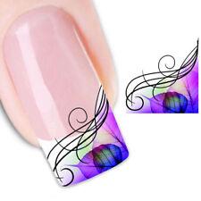 2X Adesivo sticker Purple Leaves nail art decorazioni unghie trasferimento acqua