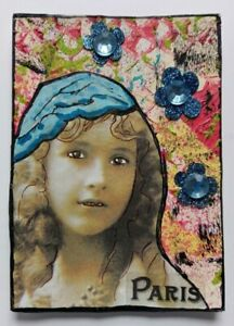 """""""PARIS"""" mixed media vintage COLLAGE art card GIRL CHILD aceo"""