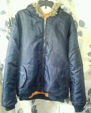 Arctic Pole Military flight bomber fur hooded blue coat jacket large parka heavy