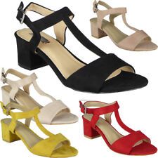 Womens Mid Heel Shoes Ladies T-Bar Ankle Strap Buckle Work Summer Sandals Size