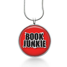 Book Junkie necklace- love to Read, book lover, Word Baubles ,wearable art