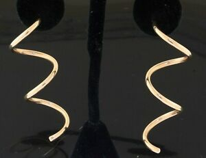 14K yellow gold elegant jumbo spiral tube dangle earrings