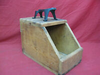 Early Wood Primitive Antique Shoe Shine Box with Cast Iron Shoe Rest