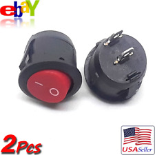 2x Red Round Rocker 125V-10A Interior Panel Boat Replacement ON/OFF Switch NEW!