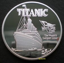 """💥 Titanic """"White Star Line Flag"""" Commemorative Proof coin Silver Plated 1oz"""