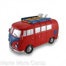 VW Volkswagen Retro Surfer Van Coin Piggy Bank - Red and Blue - FREE SHIPPING