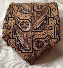 Ermenegildo Zegna Tie * Gold, Silver, Brown, Black Geometric * 100% Woven Silk