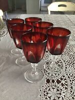 Lot 7 Vintage Luminarc France Ruby Red Cut to Clear Cordial Stem Crystal Glasses