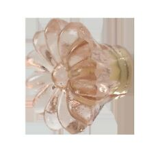 AS MANY* SHABBY CHIC 3.5CM GLASS AMBER/PINK FLOWER DOOR KNOBS/HANDLES/PULLS