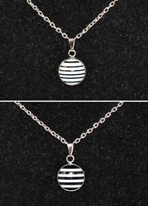 Halskette Damen Kette Silber Harz-Medaillon gestreift