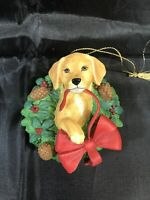 "LENOX ""A Golden Christmas"" Golden Retriever Resin Christmas Ornament 2000 EUC"