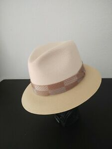 Authentic Stetson Straw Fedora Hat, Two Toned Made In USA, Size 7 1/4