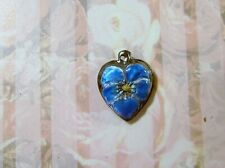 Vintage Sterling silver enameled puffy heart charm-WATER BLUE pansy