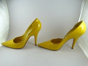 LOUIS VUITTON Vernis  Leather High Heels Shoes Pump Size 39 Yellow FREE SHIPPING