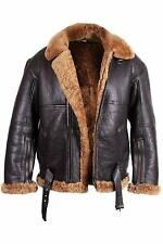 Men's B3 RF Aviator Real Shearling Brown Sheepskin Leather Flight Bomber Jacket