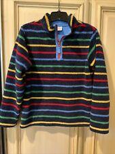 Hanna Andersson 160 Girls 14/16 Fleece Jacket 1/4 Zip Rainbow 🌈 Stripe