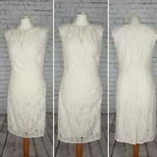 ADRIANNA PAPELL Cream Lace Evening Dress  UK 16 Wedding Cocktail Races Party