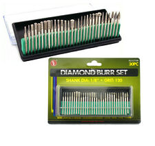 """STEEL BURRS w diamond coating 30-piece Set for Rotary Tools Med Grit 1/8"""" Shank"""