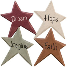 4 Country Primitive Star Word Magnets Dream Hope Imagine Faith