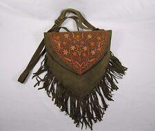 Olive kid Leather Fringe Bag Boho Hippie Gypsy Purse bag orange stitched flowers