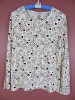 TB05949- TALBOTS Women's 100% Rayon Long Sleeve T-Shirt Multicolor Geo XL