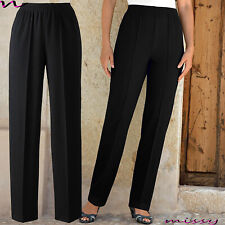 New Ladies Womens Trousers Work FULL Elasticated Stretch Waist Pull Up Pants SLI
