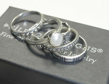 Silpada Sterling Silver Pearl Stack Ring Set of 5 Sz 6 Stackable .925 Rare R1068