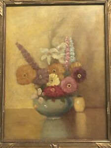 """American School 1920's Still Life """"Flowers On A Table"""""""