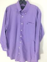 Nautica 16 32/33 Lavender Mens Cotton Oxford Button Down Shirt New Long Sleeves