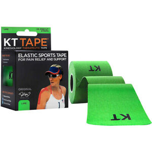 "KT Tape Cotton 10"" Precut Kinesiology Therapeutic Sports Roll, 20 Strips, Lime"