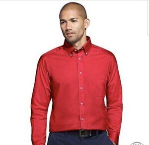 IZOD Red Twill Button-Down Wrinkle-Free Dress Shirt Sz 17 1/2  35/36 TALL NWOT