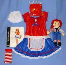 Raggedy Ann Costume Adult-M/L-wig-hose-hat-apron-Plush Raggedy Andy Doll-LOT-6